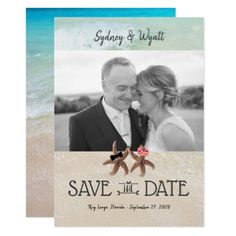 Starfish Bride n Groom Photo Save the Date Cards - invitations custom unique diy personalize occasions