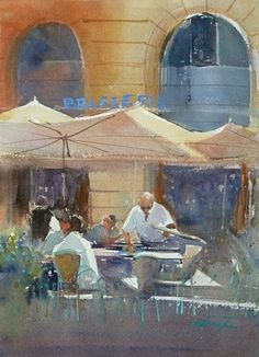 Marseille Harbor Café, France III by Keiko Tanabe Watercolor ~ 11 1/2 x 8 1/4 inches (29 x 21 cm)