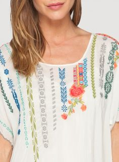 Detail: Johnny Was Embroidered Rayon Daja Blouse in Shell White