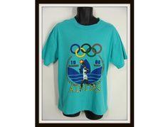 vintage 80s 1988 Seoul Summer Olympics Games Adidas Trefoil T-Shirt L by wardrobetheglobe, $45.00