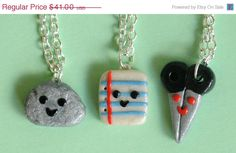ON SALE CIJ Christmas in July Sale Best Friend Rock Paper Scissor Necklace 3 Piece Polymer Clay Charms. $36.90, via Etsy.