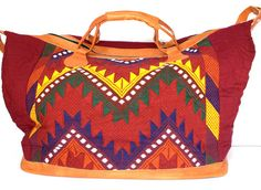 Hand Embroidered Weekender/Carry On Bag - Handmade in Nicaragua - Adelisa & Co.