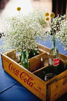 """bottle crafts coca cola 8 Glass Coke Bottle Wedding Ideas We Love (Just in Time For the New """"Share a Coke"""" Campaign! Coca Cola Wedding, Coca Cola Party, Vintage Coca Cola, Coke Bottle Crafts, Glass Bottle Crafts, Bottle Vase, Coca Cola Glass Bottles, Bottle Centerpieces, Wedding Centerpieces"""