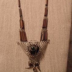 Vintage wood and metal Necklace  African  Inca  by BEEBSCLOSET