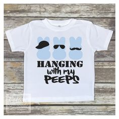 This adorable Hanging with My Peeps Easter shirt is perfect for your Easter Egg Hunt family get together or photo with the Easter Bunny! SHIRT INFO: Our shirts are printed on a 100 cotton ring sp Family Shirts, Boys Shirts, Easter Peeps, Easter Bunny, Easter Quotes, Easter Sayings, Easter Shirts For Boys, Vinyl Crafts, Vinyl Projects