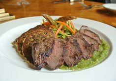 Menu Item: Coulotte Steak with Salsa Verde & Quinoa Fritters with grilled coulotte steak with fresh tomatillo salsa, quinoa fritters and asparagus-fennel slaw in tangy cilantro vinaigrette.