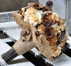 burlap flower bouquets | Brown Burlap Ivory Bouquet Made of Wood, Burlap and Corn Husk Flowers ...