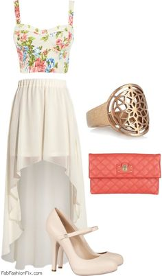 Floral print bustier top + high and low summer skirt + flat sandals (for the day) or wedge heels (for the night)  ♥