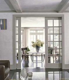 pocket doors between living room and kitchen, or between the