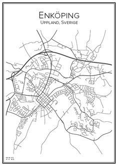 Enköping. Uppland. Sverige. Sweden. Map. City print. Print. Affisch. Tavla. Tryck.