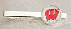 Wisconsin Badgers Tie Clip Made From Football Trading Cards Upcycled #WisconsinBadgers