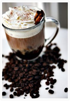 Kahlúa Café: coffee, Kahlúa, whipped cream, milk chocolate-grated or shaved, cinnamon sticks for a garnish