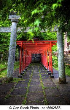 através, Templo, portões - csp5692856