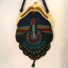 Vintage Beaded Deco Flapper Purse with Celluloid Frame