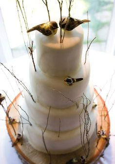 Whimsical white outdoor cake with thin branches and songbird topper.