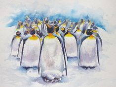 Watercolour painting of penguins in snow by WatercoloursForSale on Etsy Oil Painting For Sale, Paintings For Sale, Red Tulips, Pink Flowers, Watercolours, Watercolour Painting, Art Tutor, Pencil Drawings, Art Lessons