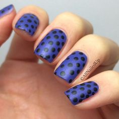Loving this combo. Bright blue, with black polka dots, matte finish