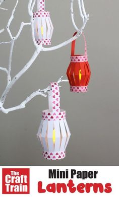 Mini Paper Lanterns with printable template | Easy crafts for kids Easy Crafts For Kids, Fun Crafts, Paper Crafts, Diwali Craft For Children, Lantern Crafts, Cultural Crafts, Popular Crafts, Little Flowers, Paper Lanterns