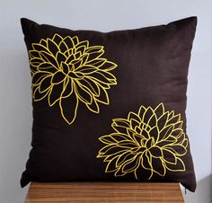 Yellow Floral Throw Pillow Cover, Dark Brown Linen Yellow flower Embroidery, Decorative Pillow Cover, Accent Pillow, 18 x 18 Pillow Cover, $22.00