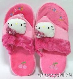 """Hello Kitty 10 """" Clip On Plush Bedroom Pink Home NEW Slippers"""