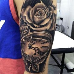 Manly Realistic Rose With Pocket Watch Mens Arm Tattoo Tattoos Arm Mann, Arm Tattoos For Guys, Trendy Tattoos, Forearm Tattoos, Body Art Tattoos, Sleeve Tattoos, Cool Tattoos, Black And Grey Rose Tattoo, Clock Tattoo Design