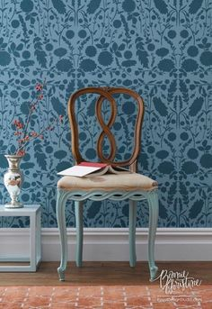 Take a walk in the woods with the Forest Floor Damask stencil from the Bonnie Christine Stencil Collection. This versatile stencil pattern can be repeated to create an allover wall damask design OR us
