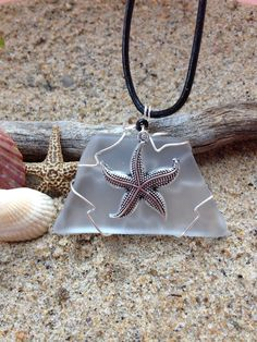 280 Starfish on clear seaglass - sold