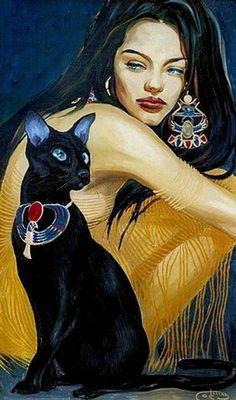 Портреты красивых девушек с изящными кошками