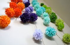 DIY paper poms from super cute blog, Its Raining Jelly Beans