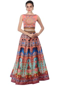babc6f9375 Buy Kreckon Multicolor Twill Silk Printed Lehenga Choli online in India at  best price.Kreckon Printed Lehenga Choli Buy Multi Color Kreckon Printed  Lehenga ...