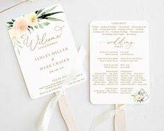 Wedding Fan Program, Printable, Editable Program Template, Wedding Order of Service, Blush Ivory Cre Printable Wedding Programs, Wedding Program Fans, Wedding Fans, Wedding Welcome, Our Wedding, Wedding Venues, Wedding Stationary, Wedding Invitations, Invites
