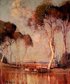 Sydney Long ~ Art Nouveau and Symbolist painter Australian Painting, Australian Artists, Landscape Art, Landscape Paintings, Mini Paintings, Sydney, Art Nouveau, Long Painting, Magical Images