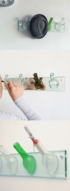Checked on the original website that first posted this hat rack to see if there were instructions but couldn't find them. Love the look but not sure that a beginner could actually craft this. Anyone have ideas on how to actually make this used wine bottle hat rack? #GreenRamsey #NeighborhoodHeroes #Recycle