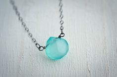 Large Aqua Blue Chalcedony Necklace Briolettes by LoveGemStudio