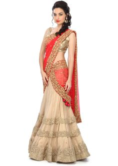Gold lehenga adorn in embossed thread and sequin embroidery only on Kalki