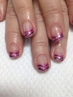 Pink French gel nails accented with a zebra print, how funky! All nontoxic and odorless gel.