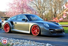 Red is hot !! Red Tinted Brushed HRE P40SC on a Porsche 911 Turbo.