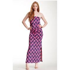 "Shevron Maxi Dress. Bandeau neck• Sleeveless• Waist band with tie• Allover print• (52"" Length) Julie Brown Dresses"