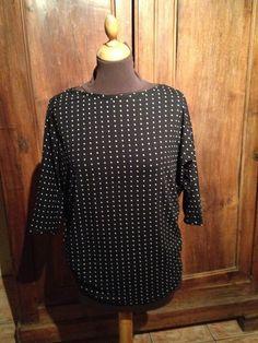 Tee-shirt manche trois quart chauve sourie noir imprimé petit carré blanc taille 38. : T-Shirt, debardeurs par l-atelier-de-cissou
