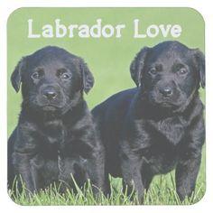 #Black Labrador Retriever Puppy Dog Love Square Paper Coaster - #labrador #retriever #puppy #labradors #dog #dogs #pet #pets