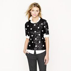 Sequin Top over white blouse