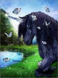love this Unicorn with butterflies pic World Gif, Black Unicorn, Unicorns And Mermaids, Equine Art, My Spirit Animal, Fantasy World, Faeries, Mystic, Cow
