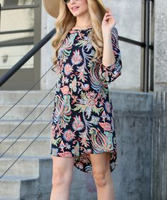 This Navy Floral Hi-Low Dress by 42POPS is perfect! #zulilyfinds