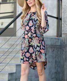 Look at this #zulilyfind! Navy Floral Hi-Low Dress #zulilyfinds