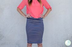 GroopDealz   Striped Pencil Skirt - Come in 3 Styles