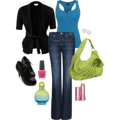 Summer work outfit. Blue, lime, pink, black.