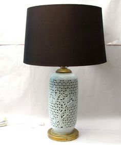 Hollywood Regency Lamp Pair Blanc De Chine Chinoiserie lighting 1940s -- base lights up too
