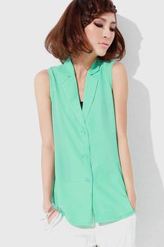 Taper Stripe Backless Green Shirt