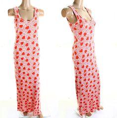 Vintage 70s Orange White Love Heart Stetch Bodycon Long Maxi Dress UK 8 10 on Etsy, $59.24