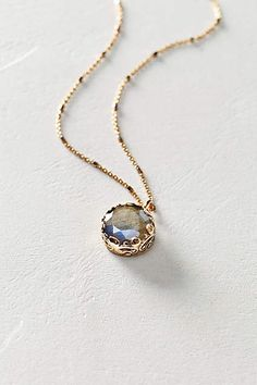 If only I had 800 bucks! Labradorite Pendant Necklace in 14k Rose Gold - anthropologie.com